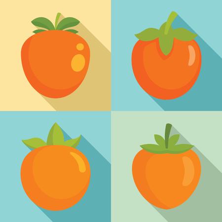 Persimmon icon set, flat style Stockfoto