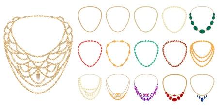 Necklace icon set, cartoon style