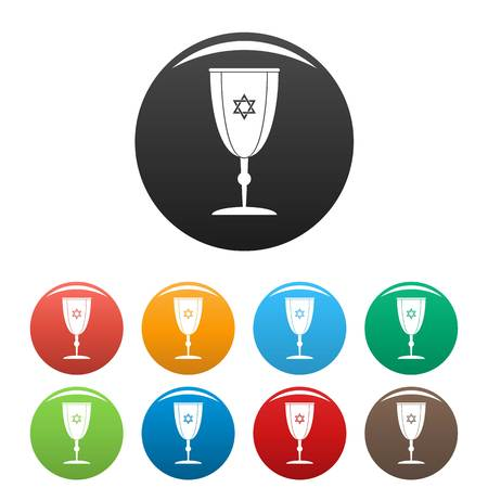 Judaism cup icons in a set of multicolors