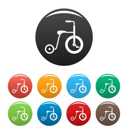 Plastic tricycle icon in multi colors set