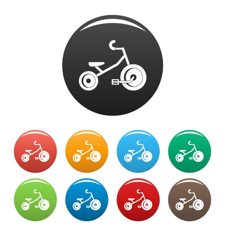 Kids tricycle icon in multi colors set