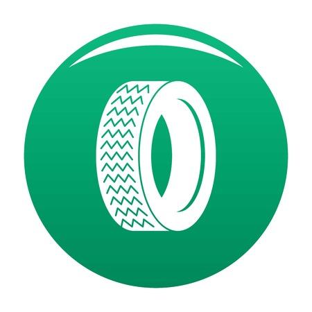 Machine tire in green icon