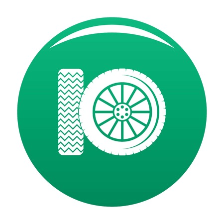 Car tire icon in green
