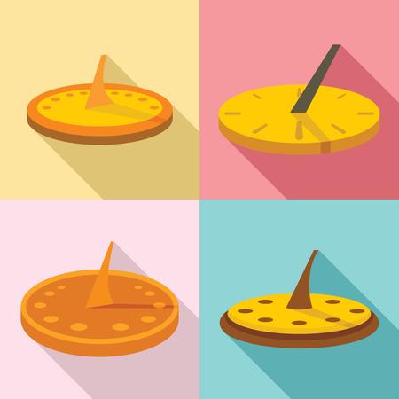 Sundial icons set, flat style Vektoros illusztráció