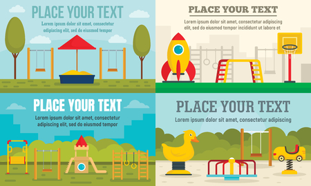 Kid playground banner set, flat style Illustration