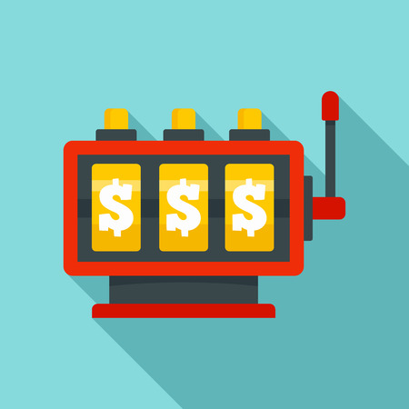 Fortune slot machine icon. Flat illustration of fortune slot machine vector icon for web design