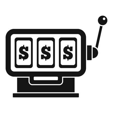 Dollar slot machine icon, simple style