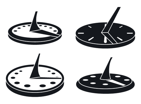 Ensemble d'icônes de cadran solaire ancien. Ensemble simple de vieilles icônes vectorielles de cadran solaire pour la conception web sur fond blanc Vecteurs