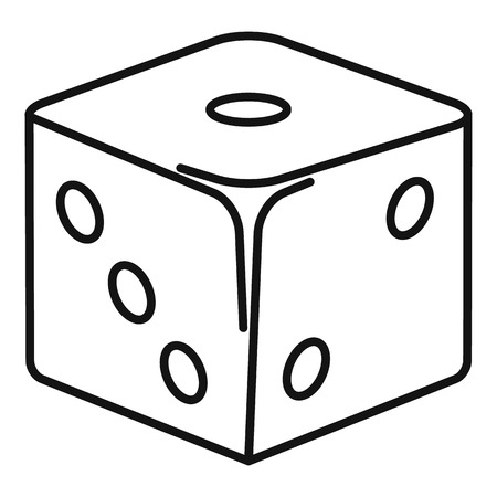 Classic dice icon, outline style