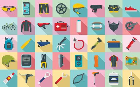 Mountain bike icons set, flat style Illustration