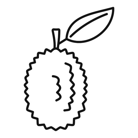 Whole raw durian icon, outline style