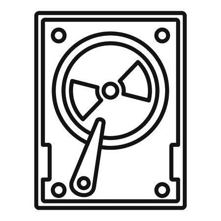 Magnetic hard disk icon, outline style