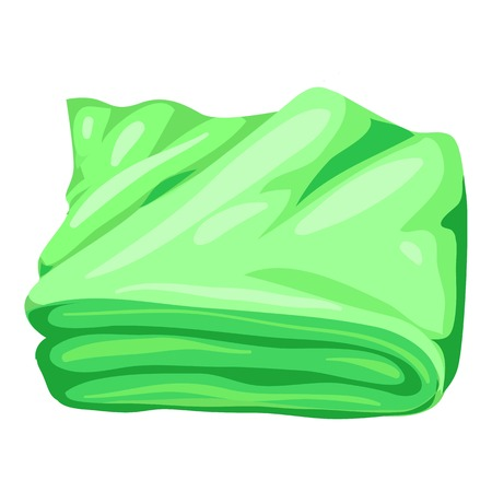 Green bath towel icon. Cartoon of green bath towel vector icon for web design isolated on white background