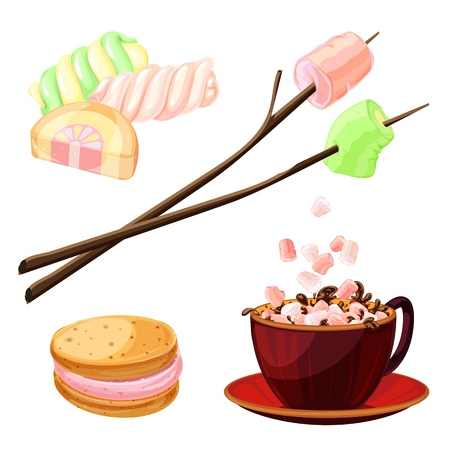 Marshmallow icons set, cartoon style Illustration