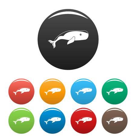 Big whale icons set color