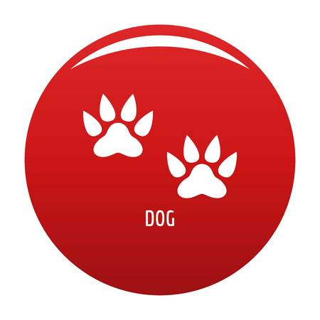Dog step icon vector red
