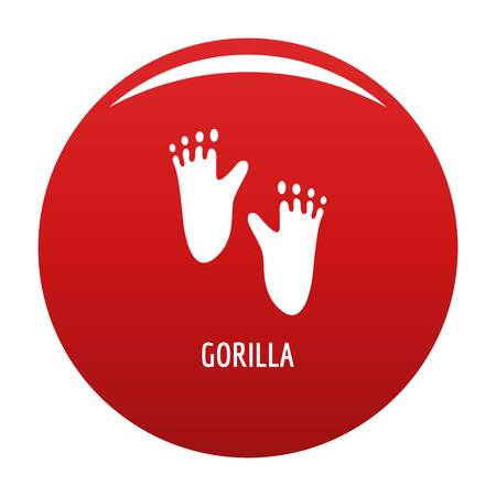 Gorilla step icon vector red