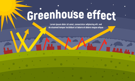 Planet greenhouse effect concept banner. Flat illustration of planet greenhouse effect vector concept banner for web design