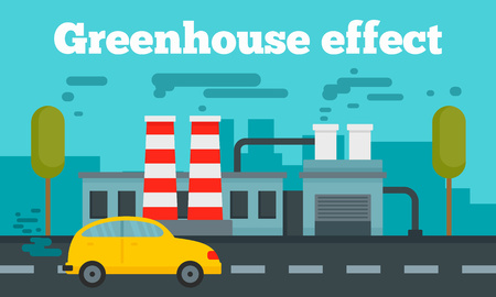 Greenhouse effect concept banner. Flat illustration of greenhouse effect vector concept banner for web design
