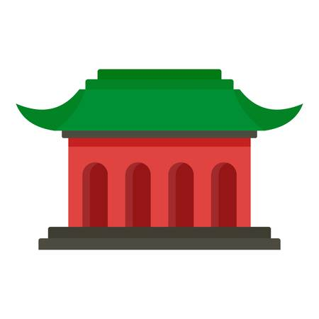Asian temple icon, flat style