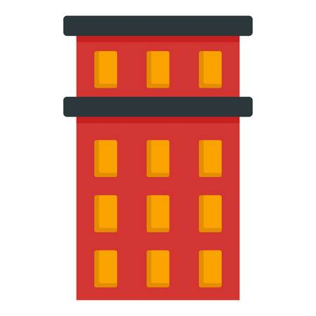Red building icon. Flat illustration of red building vector icon for web design