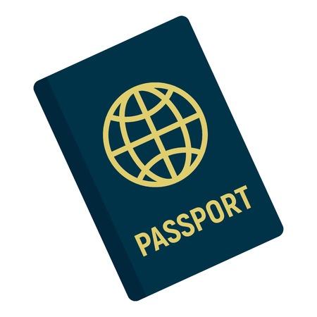 International passport icon, flat style Illustration