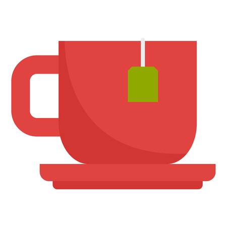 Red hot tea cup icon. Flat illustration of red hot tea cup vector icon for web design
