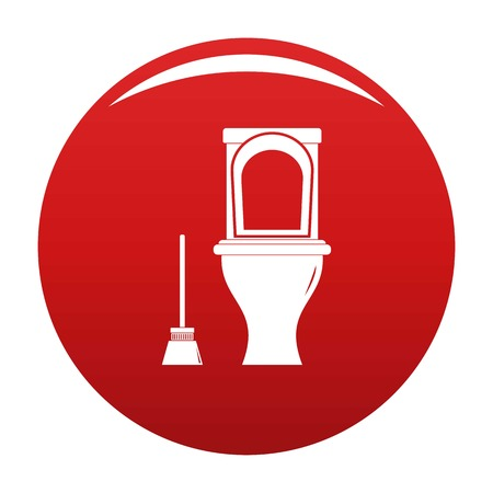 Cleaning toilet icon vector red Illustration