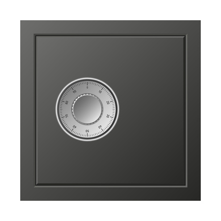 Metal safe box icon, realistic style