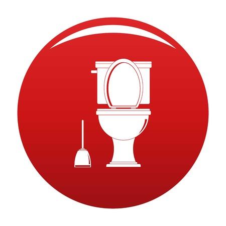 Comfort toilet icon vector red