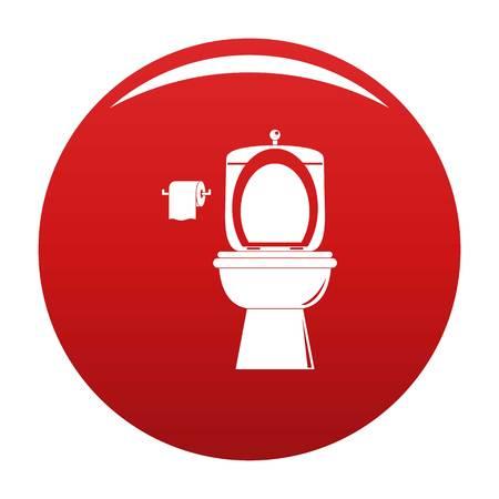 Ceramic toilet icon vector red