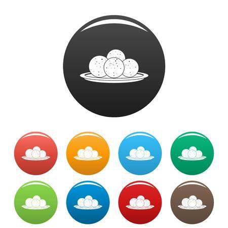 Propolis sphere icons set color