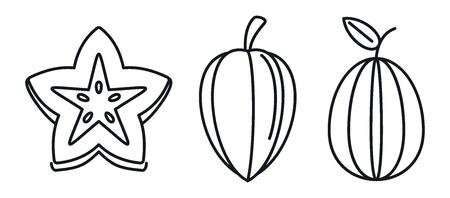Carambola star fruit icons set. Outline set of carambola star fruit vector icons for web design isolated on white background Illustration