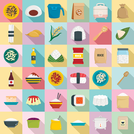 Rice icons set. Flat set of rice vector icons for web design