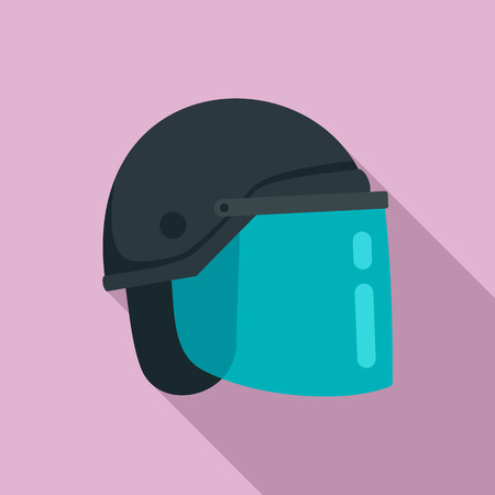 Police helmet icon. Flat illustration of police helmet vector icon for web design