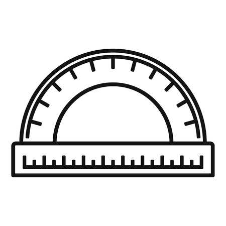 Wood protractor icon, outline style