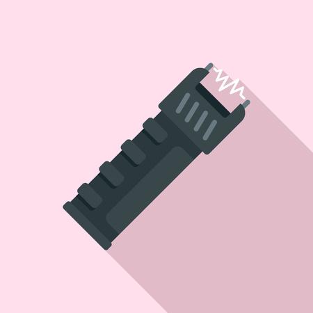 Police electric shocker icon. Flat illustration of police electric shocker vector icon for web design