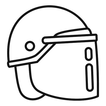 Police helmet icon. Outline police helmet vector icon for web design isolated on white background