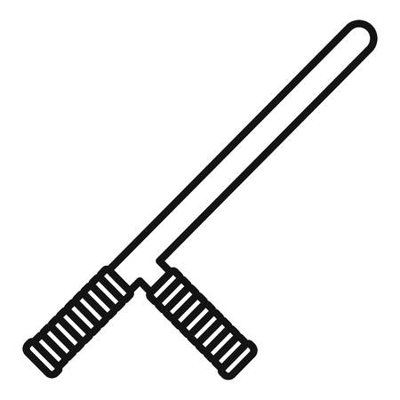 Police baton icon. Outline police baton vector icon for web design isolated on white background