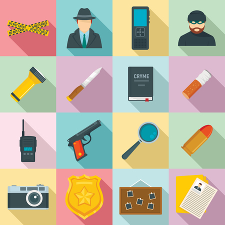 Crime investigation icons set, flat style