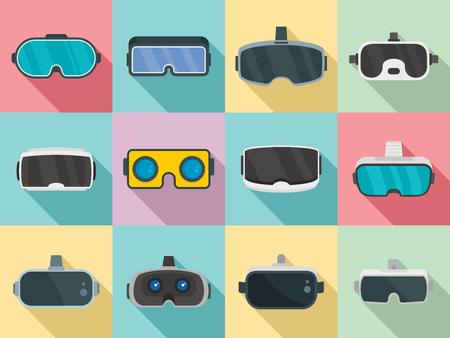 Game goggles icons set, flat style Illustration