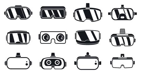 Conjunto de iconos de gafas de juego 3D. Conjunto simple de iconos de vector de gafas de juego 3d para diseño web sobre fondo blanco Ilustración de vector