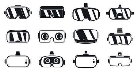 3d game goggles icons set. Simple set of 3d game goggles vector icons for web design on white background