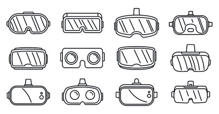 Video game goggles icons set, outline style