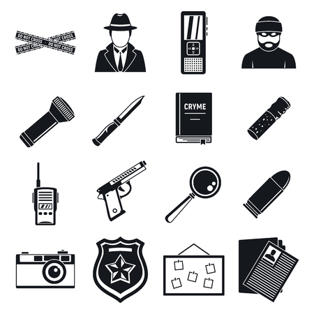 Detective crime investigation icons set, simple style