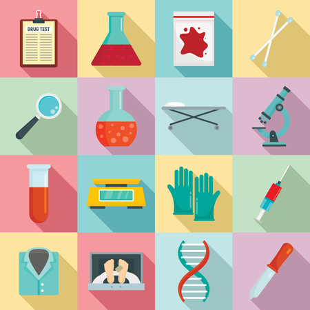 Forensic laboratory icons set. Flat set of forensic laboratory vector icons for web design Illustration