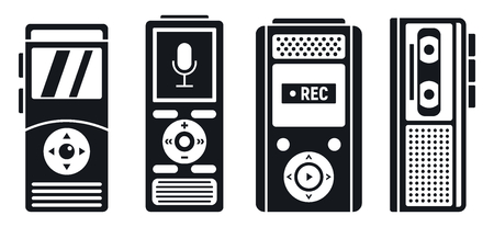 Dictaphone recorder icons set, simple style