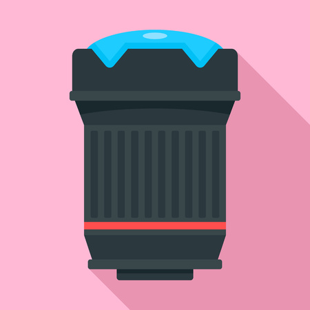 Lens red ring icon. Flat illustration of lens red ring vector icon for web design Illusztráció
