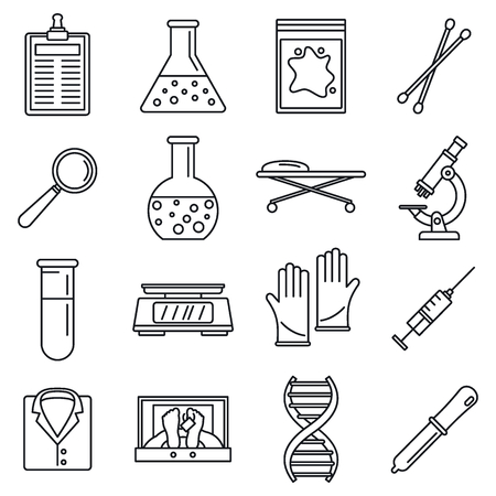 Dna investigation laboratory icons set. Outline set of dna investigation laboratory vector icons for web design isolated on white background Banque d'images - 116961334