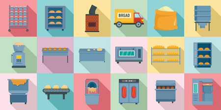Bakery factory icons set. Flat set of bakery factory vector icons for web design